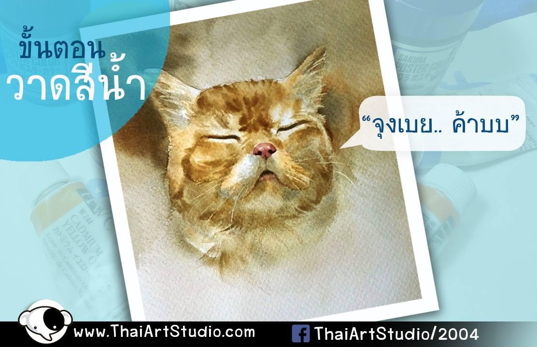 สอนวาดรูปสีน้ำ น้องแมว ขั้นตอนวาดสีน้ำ ฝึกวาดรูปด้วยตัวเอง